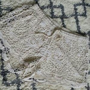 Lined Crochet Shorts